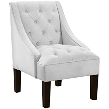 Awesome Skyline Furniture Tufted Swoop Arm Chair In Velvet White