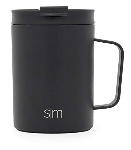 Simple Modern 12oz Scout Mug Tumbler - Vacuum Insulated Internally Threaded Travel Mug Flask 18/8 Stainless Steel Hydro Thermos Cup - Midnight ()