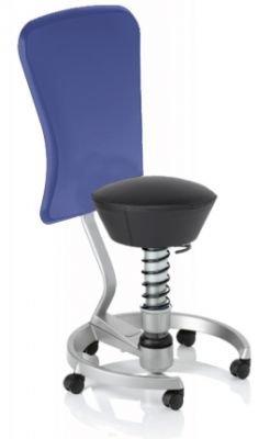 Aeris Swopper Classic - Bezug: Leder / Schwarz | Polsterung: Standard | Fußring: Titan | Spezial-Rollen für Teppichböden | mit Lehne und blauem Microfaser-Lehnenbezug | Körpergewicht: SMALL