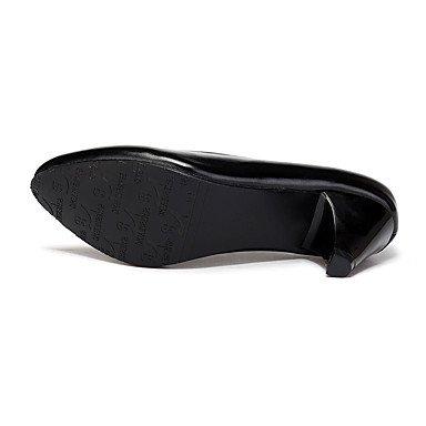LvYuan-ggx Damen High Heels formale Schuhe Kunstleder Frühling Herbst formale Blockabsatz Schuhe Blockabsatz formale Schwarz 12 cm & mehr schwarz a7d1a5