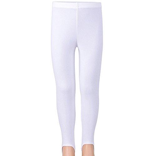 (TFJH E Soft One-piece Fitness Dancing Gymnastics Athletic Stirrip Tight for Girls Leggings White)