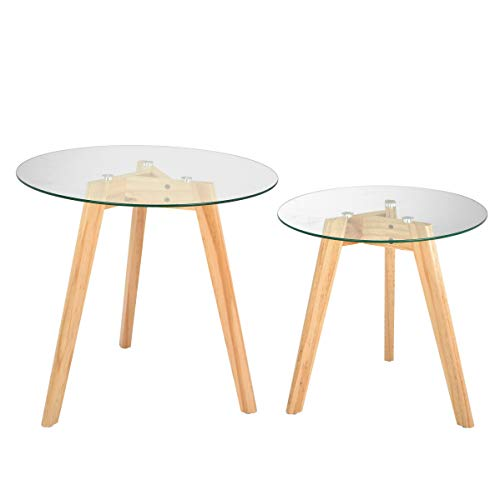 AdirHome Totally Natural Glass Top Tables in Two Sizes Fit Anywhere (Desk Anywhere)