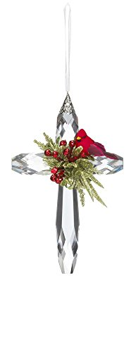 Ganz Kissing Krystal Mistletoe Cardinal on Acrylic Cross