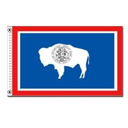 (Annin Flagmakers Model 146150 Wyoming State Flag Nylon SolarGuard NYL-Glo, 2x3 ft, 100% Made in USA to Official Design Specifications)