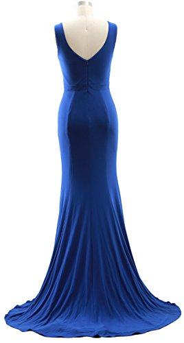 MACloth Simple V Gown Rot Jersey Formal Prom Mermaid Dress Deep Evening Neck BxBwqf7p