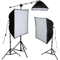 Smith-Victor KSB-1250 Economy Softbox Three Light Kit, with 2 SBL-2436 & 1 SBL-1024 Softbox Lights, Light Stands, Mini Boom & Photoflood Lamps - 120V AC ()