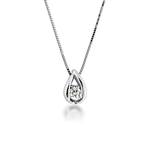 (Sirena 1/10 ct. tw. Round Diamond Tear-Drop Pendant in 10K White Gold - JSI3596WR5J@10W)