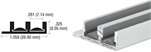 CRL Satin Anodized Lower Track With Fiber Inserts for 1/4'' Panels - 12 ft long by CRL