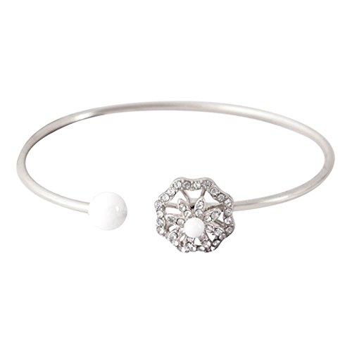 Botrong® Pearl Flower Diamond Encrusted With A Rotary Bracelet Can Adjust The Bracelet - Flowers Rotate at High Speed (Silver) ()