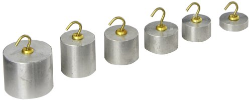 United Scientific WSAL06 Aluminum Hooked Weight Set, One Each of 100g, 50g, 40g, 30g, 20g, (Calibration Mass Set)