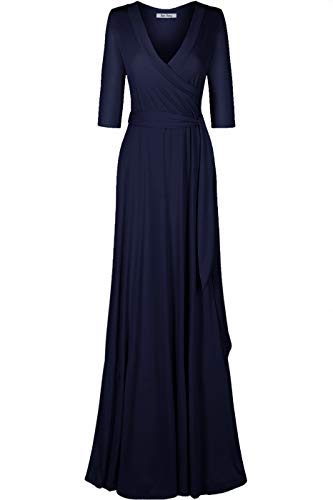 Bon Rosy Women's #MadeInUSA 3/4 Sleeve Deep V-Neck Maxi Faux Wrap Solid Plus Size Dress Summer Wedding Guest Party Bridal Baby Shower Maternity Nursing Navy 3X