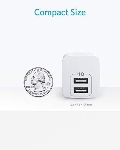 USB Charger, Anker 2-Pack Dual Port 12W Wall Charger with Foldable Plug, PowerPort Mini for iPhone X / 8/8 Plus / 7 / 6S / 6S Plus, iPad, Samsung Galaxy Note 5 / Note 4, HTC, Moto, and More