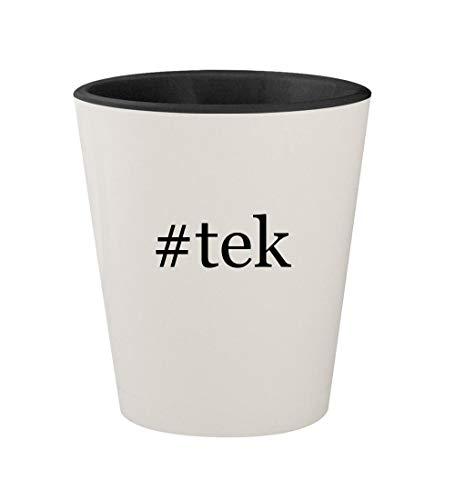 Mega Tek Hair - #tek - Ceramic Hashtag White Outer & Black Inner 1.5oz Shot Glass