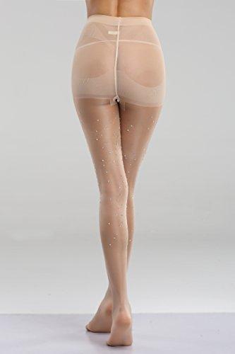 ed0ed8f089dab FanShou Women Control Top Sheer Sparkle Glitter Rhinestone Pantyhose Tights