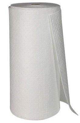 Brady USA SPC150 38'' x 144' SPC White 1-Ply Meltblown Polypropylene Dimpled Perforated Heavy Weight Sprocket Bonded Sorbent Roll, English, 15.34 fl. oz., Plastic, 1'' x 1728'' x 15'' (1 Per Bag)