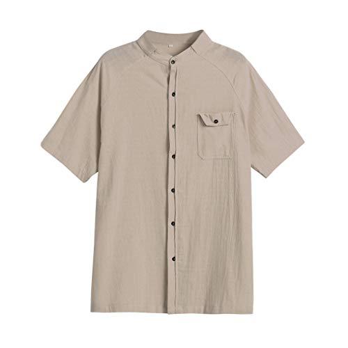 (Men Short Sleeve Henley Shirt Summer Blouse Leisure Beach Yoga Loose Fit Tops)