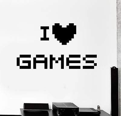Amazon.com: Vinyl Wall Decal I Love Games Quote Pixel Video ...
