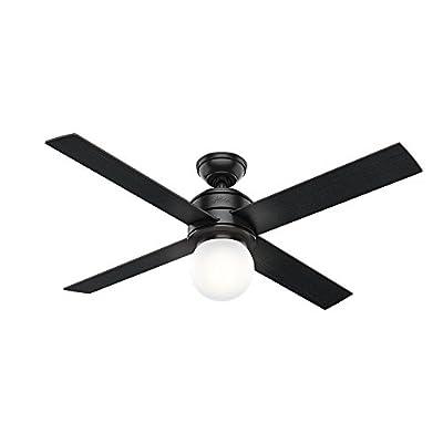 "Hunter 59321 Hepburn Ceiling Fan Hunter Light with Wall Control, 52"", Matte Black"
