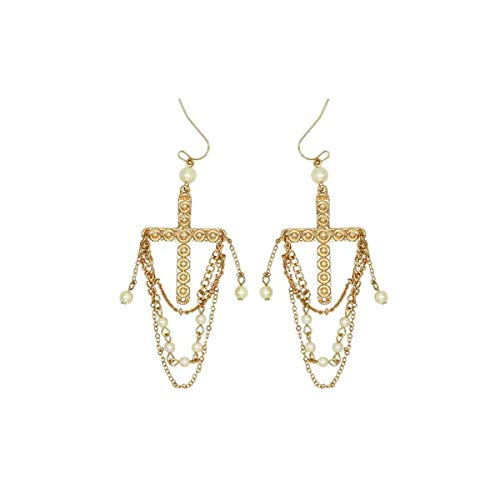 Evil Spirit Earring - Gold Fashion Cross Earring with Pearls