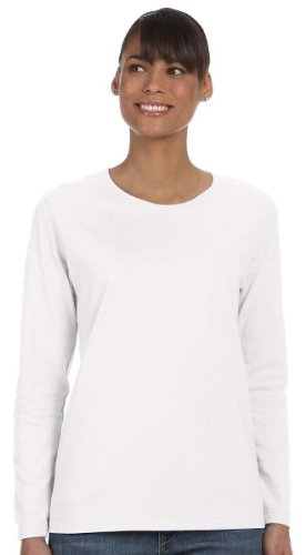 Gildan Heavy Cotton Ladies Missy Fit Long-Sleeve T-Shirt, Large, White