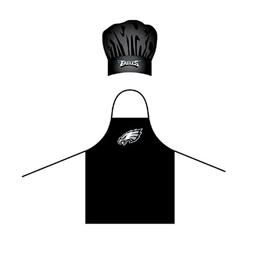 LA Auto Gear Men's Chef Hat & Apron - NFL - Philadelphia Eagles - Team Logo BBQ Barbeque Cook Grill Home Tailgating - Apron Bbq Logo