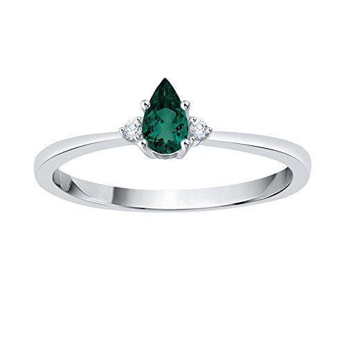 Diamond and Pear Cut Emerald Fashion Ring in 10K White Gold (1/4 cttw) (GH Color, I2-I3 Clarity) (Size-4.25)