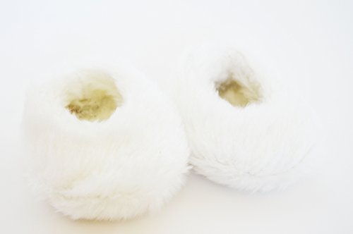 Doll Slippers - White Fuzzy Slippers For American Girl Dolls and Bitty Twins