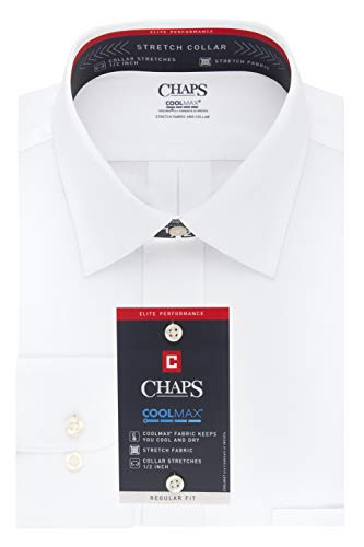 Chaps Mens Dress Shirt Regular Fit Stretch Collar Cool Max Solid