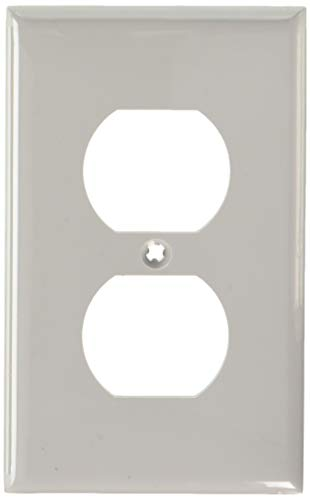 Leviton 80703-GY 1-Gang Duplex Device Receptacle Wallplate, Standard Size, Thermoplastic Nylon, Device Mount, Gray, 20-Pack