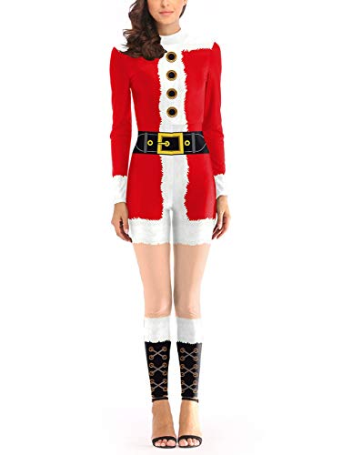 (Ninkisann Womens Christmas Party Cosplay Costume 3D Print Skinny Stretch Santa Claus Catsuit Jumpsuit)