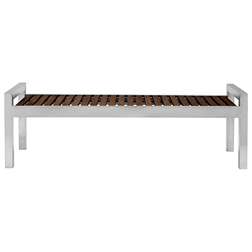 Skyline 5' Bench, Stainless Frame & Espresso Wood Finish by Commercial Zone