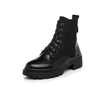 HOESCZS Zapatos De Mujer Otoño E Invierno Botas Van Martin Cuero Femenino +  Lienzo Aumento Ocasional Zapatos Cómodos Zapatos De Mujer  Amazon.es   Deportes y ... 2b328f4b1a3