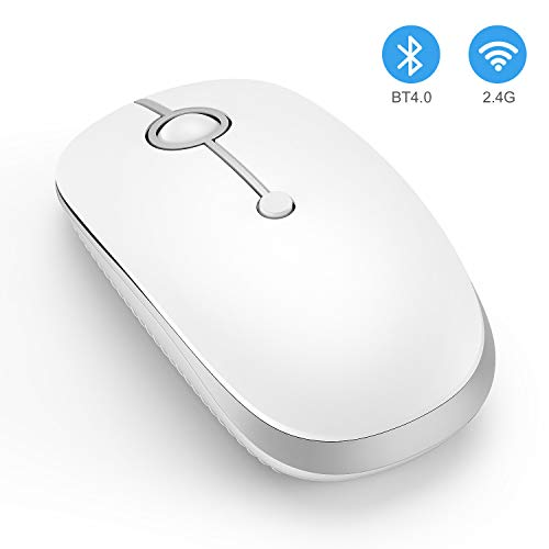 Wireless Bluetooth Mouse, Jelly Comb Slim Dual Mode 2.4GHz Wireless and Bluetooth Mouse with 2400 DPI for PC, Laptop, Mac, Windows (White and Silver)