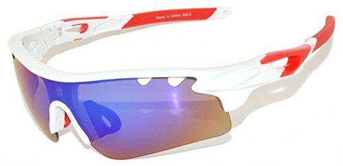 OWL Full Shield Mirrored Lens Sunglasses Wrap Around Sport Running - Wrap White Sunglasses Around
