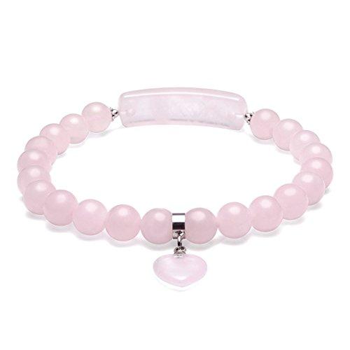 Top Plaza 8MM Elegant Chakra Reiki Healing Energy Crystal Beads Yoga Meditation Gemstones Elastic Bracelet with Heart Charm Stone(Rose Quartz) by Top Plaza