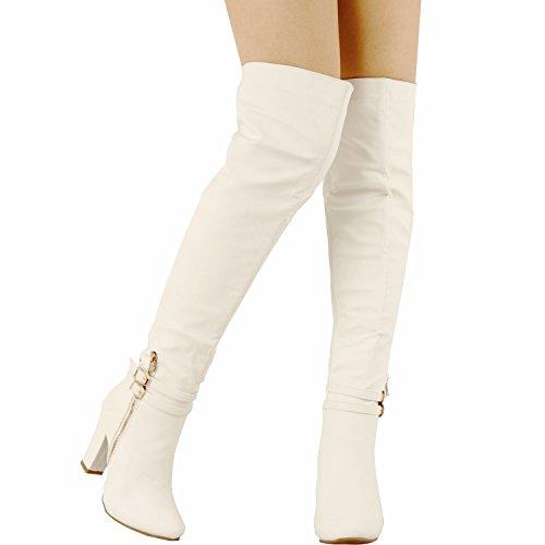 Guilty Schuhe Womens Sexy Fashion Block Chunky Heel ausgestattet Schnalle Reißverschluss - Over The Knee Boots Weißer Pu