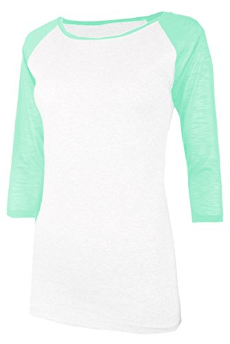 ca25c13a TL Women's 3/4 Sleeve Short Sleeve Stretchy Raglan Baseball T-Shirt Top