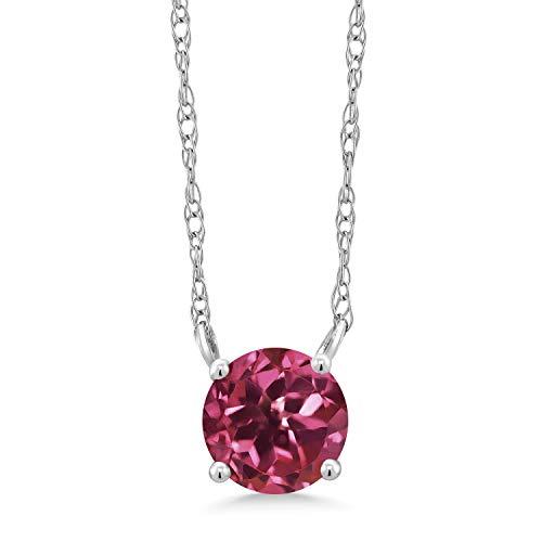 (Gem Stone King 0.52 Ct Round Pink Tourmaline 18K White Gold Necklace)