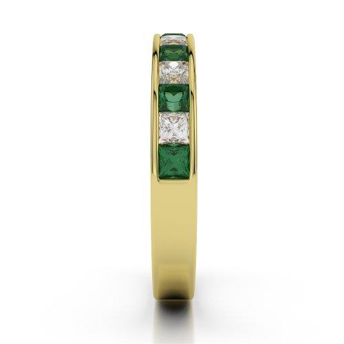 Or jaune 18carats 0,98CT G-H/VS Certifié Coupe ronde Émeraude et diamants Agdr-1136