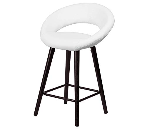 Office Home Furniture Premium Kelsey Series 24'' High Contemporary Cappuccino Wood Counter Height Stool in White Vinyl 24' Oak Counter Stools