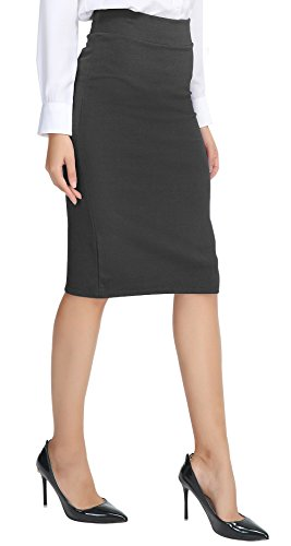 (Urban CoCo Women's Elastic Waist Stretch Bodycon Midi Pencil Skirt (M, Heather Grey))