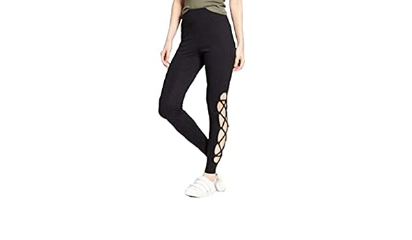 d8a38be95ac8c Mossimo Supply Co Women's Higth Waisted Lace Up Leggings - Black - at Amazon  Women's Clothing store: