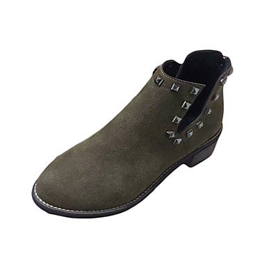 Wsx & Plm Femmes-bottines-casual-confortable-low-pu (polyuréthane) -noir Vert Kaki, Us8.5 / Eu39 / Uk6.5 / Cn40