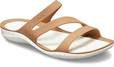 Crocs Women's Swiftwater Sandal, Bronze/Oyster, W4