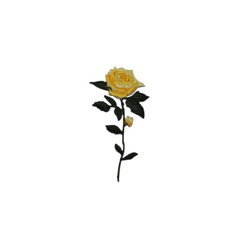 ID #6001 Yellow Rose with Stem Flower Iron On Badge Applique Patch