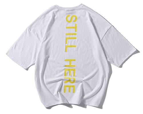 White High S color Street Hop Size Casual Hombre Para Unisex Verano Ojal Tifer Manga De Hip Tamaño 3 Con Corta Ropa Gran Tops Camisa qIRfg