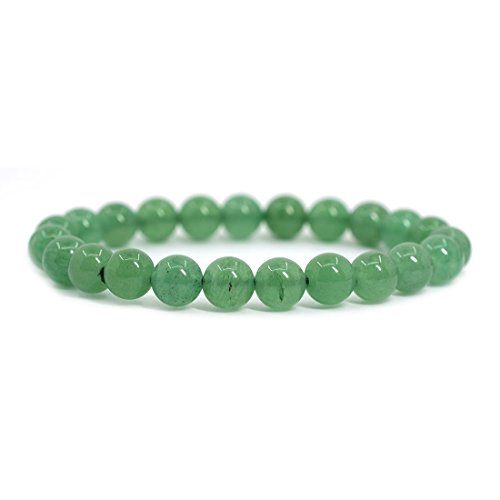 (Natural A Grade Green Aventurine Gemstone 8mm Round Beads Stretch Bracelet 7