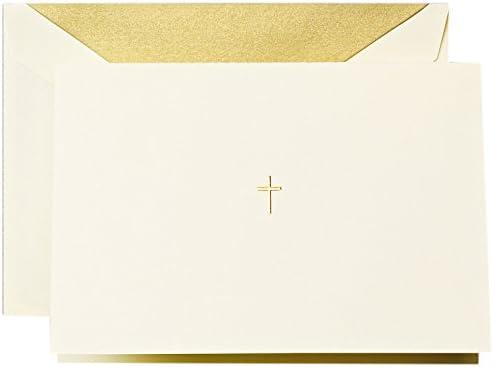 Hand Engraved Ecruwhite Gold Cross Note CF1444 Crane /& Co