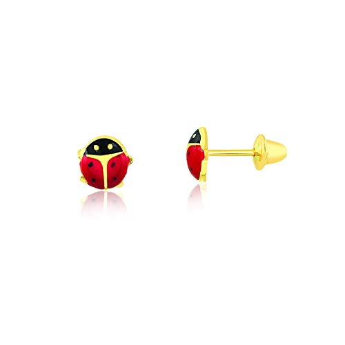 Carol Jewelry 18k Hypoallergenic Yellow Gold Red Enamel Ladybug Push Backs Stud Earrings for Little Girls, Toddlers and Infants