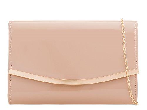 Ladies Faux Patent Leather Envelope Clutch Bag - Women's Evening party Purse Handbag KH2216 Nude